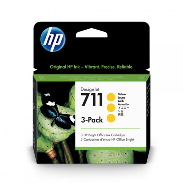 ORIGINAL HP Multipack gelb CZ136A 711 3 Tintenpatronen CZ132A (711)