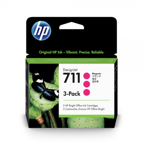 ORIGINAL HP Multipack magenta CZ135A 711 3 Tintenpatronen CZ131A (711)