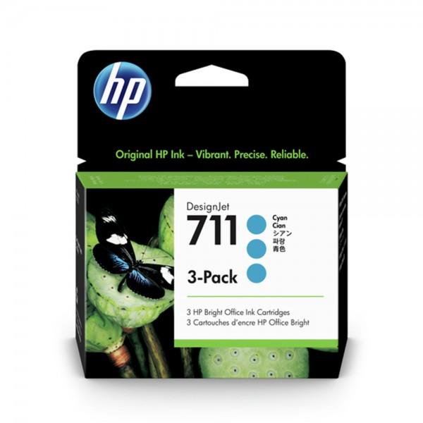 ORIGINAL HP Multipack cyan CZ134A 711 3 Tintenpatronen CZ130A (711)